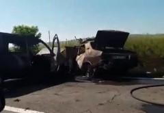 EXCLUSIV/ Vezi VIDEO de la accidentul de pe DN1 B, petrecut ieri, in urma caruia doua masini au luat foc