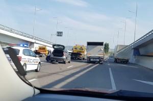 Accident rutier pe Pasajul suspendat de la Păuleşti