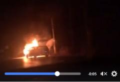Masina in flacari pe DN1, la Romanesti /VIDEO