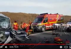 IMAGINI ȘOCANTE Un GRAV ACCIDENT rutier a BLOCAT un drum național: Cel puțin 3 MORȚI, intervine elicopterul SMURD / VIDEO