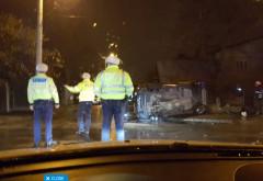 Accident GRAV in Ploiesti, pe str. Valeni. O masina s-a rasturnat. Soferita a ramas INCARCERATA