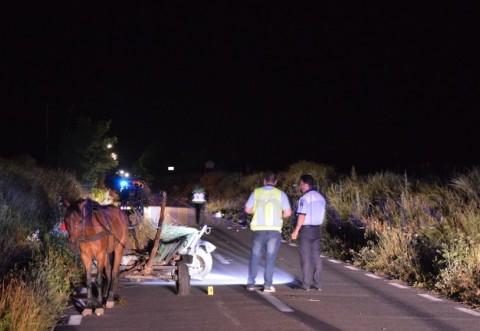 Tragedie pe un drum din Fulga. Un barbat a murit dupa ce o masina a intrat intr-o caruta
