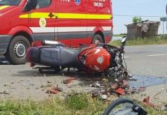 Accident pe Centura de Est, in Berceni. Doua masini si un motociclist implicate