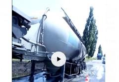 Un camion cu ciment a luat foc în Ciorani, iar rezervorul si motorul au explodat