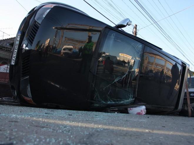 Accident cu o masina rasturnata, la Gherghita. O victima
