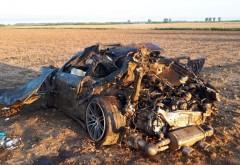 Accident mortal, in Dambovita. Soferul unui Porsche si-a pierdut viata. Politistii au gasit in masina doua sacose cu lire sterline