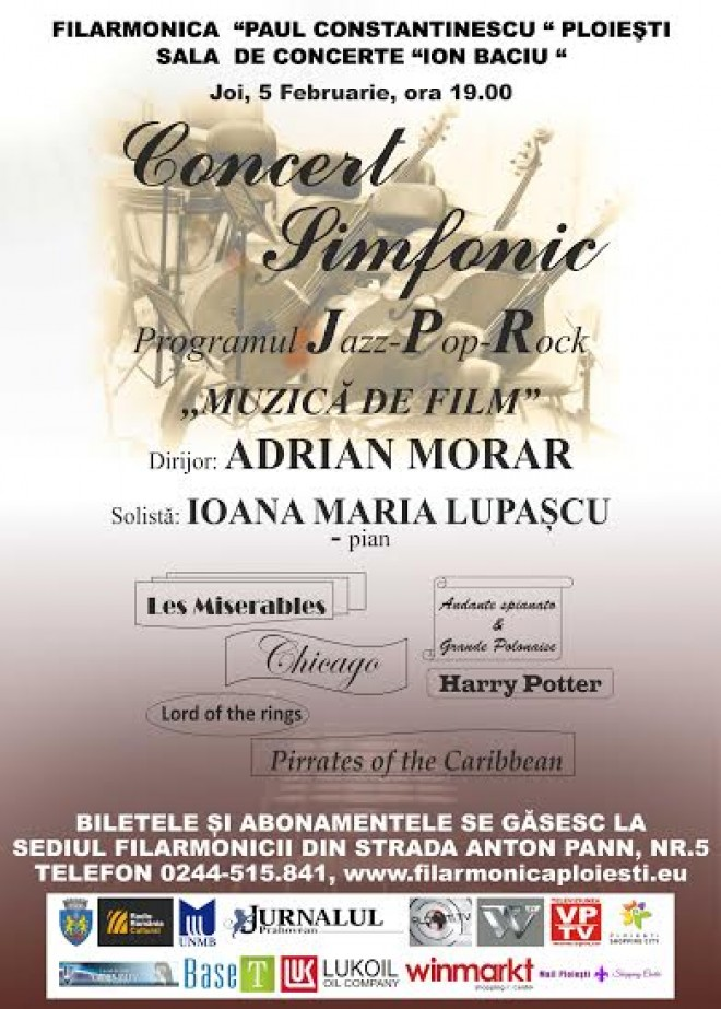 """Concert simfonic """"Muzică de film"""", la Filarmonica din Ploieşti"""